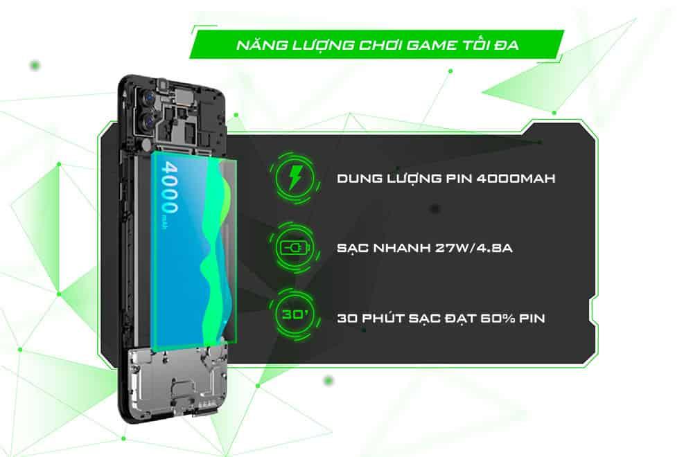 Pin siêu khủng của Black Shark 2 Pro 8GB quốc tế